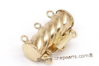10kmounting005 14k gold plated brass column-shaped pearl necklace clasp