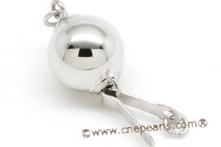 14kmounting015 8mm 14k white gold ball-shaped pearl necklace clasps