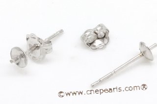 14kmounting021  Big Size Pearl stud earrings mounting in 14K White gold wholesale