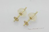 14kmounting022  Big Size Pearl stud earrings mounting in 14K yellow gold