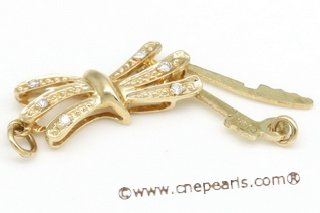 14kmounting027 Designer single strand hook clasp in 14K yellow gold