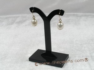 14kpe001 14K gold Fishhook earwire earring with 8-9mm tear-drop pearl