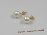 14kpe003 14K Gold studs Earring with white 8-9mm round pearl