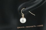 14kpe008 8-9mm white freshwater round pearl 14K Gold hook dangle earring