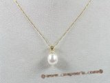 14kpp001 14K gold pendant with 8-9mm white tear-drop pearls