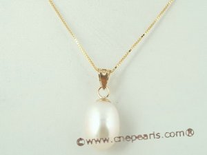 14kpp002 9-10mm white freshwater oval drop pearls 14K gold pendant on sale