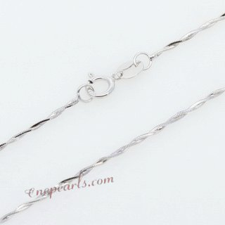 18kchain016 Genuine 18 K White Gold Cut Twist Chain in 18inch