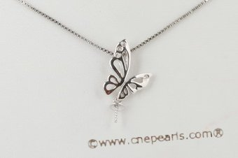 18kmounting016 Butterfly design diamond pendant mounting in 18K white gold
