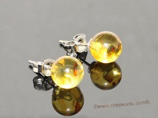 ae001 Genuine round yellow amber earrings in sterling silver stud