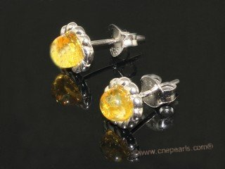 ae002 Genuine yellow amber earrings in sterling silver stud