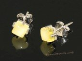 ae003 Genuine yellow amber earrings in sterling silver stud