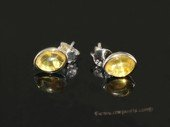 ae004 Genuine yellow amber earrings in sterling silver stud