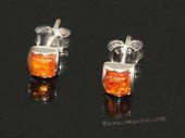ae006 Sterling silver 5mm nature amber beads earring stud