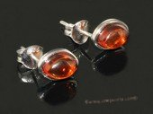 ae007 Sterling silver 6.5*9mm nature amber beads earring stud