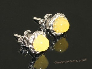 ae009 Sterling silver 8mm  nature amber beads earring stud