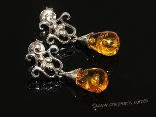 ae010 Nature amber  dangle earrings with sterling silver stud