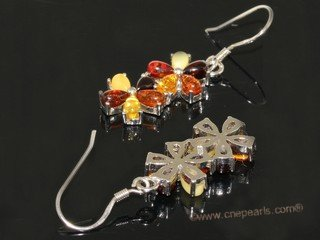 ae012 Nature amber  dangle earrings with sterling silver hook