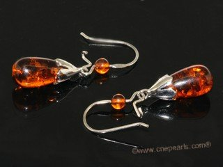 ae013 Nature amber  dangle earrings with sterling silver hook