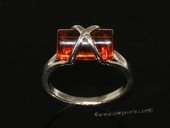 ar001 Beautiful orange  color natural amber ring with 925 silver