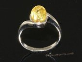 ar002 Beautiful yellow color natural amber ring with 925 silver