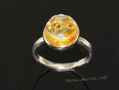 ar003 Beautiful yellow color natural amber ring with 925 silver
