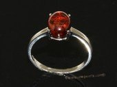 ar004 Beautiful orange  color natural amber ring with 925 silver