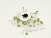 Brooch080 Fashion Cultured Pearl and Olivine Gemstone Shell Brooch