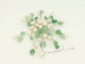 brooch085 Silver Toned White Pearl and Jade Chandelier Brooch