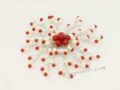 brooch086 Rice Seed Pearl and Red Coral Blooming Brooch