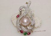 brooch092 Freshwater Pearl Sterling Silver Brooch in Swan Shape