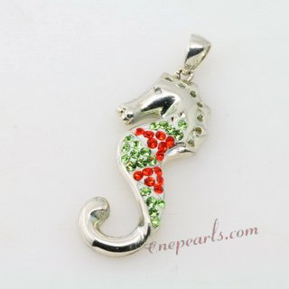 Cbp009 Beautifully 925silver Hippocampus Pendant with Swarovski Gemstone