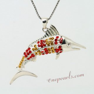 CBP044 Garnet and Yellow Topaz Sterling Silver Fish Pendant