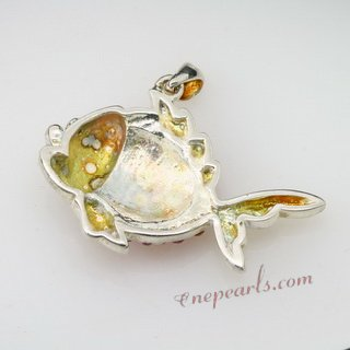 CBP049 Natural Colorful Gemstone Sterling Silver Fish Pendant