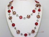 cn128 Hand strung red coral rope long necklace with shell beads