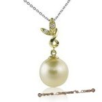 Dpp002 South Sea Pearl and Diamond  Pendant in 18k yellow Gold