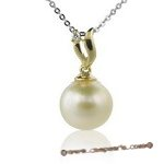 Dpp004  Classic style south sea pearl and diamond pendant in 18K yellow gold