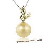 Dpp007 big 15.5-16mm south sea pearl pendant with 18K yellow gold and  diamond