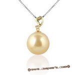 Dpp009 18K yellow gold pendant with 12-13mm south sea pearl  and  diamond