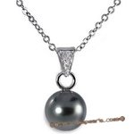 Dpp023 18k White Gold Cultured Black Tahitian Pearl Pendant  with Diamond