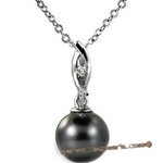 Dpp024 Elegant black tahitian pearl diamond pendant in 18K white gold