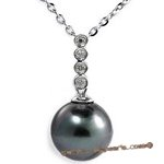 Dpp027 10-11mm black tahitian pearl with four diamond in 18k white gold