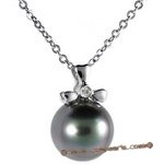 Dpp028 gracefully 18k white gold diamond pendant with a black tahitian pearl