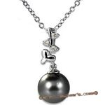 Dpp032 Elegant 9.5-10mm black tahitian pearl and diamond in 18K white gold