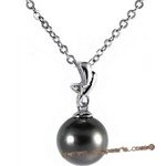 Dpp033 18k white gold tahitain pearl  & diamond pendant