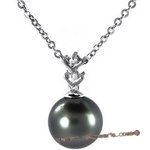 Dpp034 stick-style tahitian pearl diamond pendant with 18k white gold