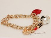 FSB009  New European Fashion Charming Gold Plated Metal Red Rhinestone Lip Stick  Chunky  Link Chain Bracelet