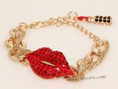 FSB010 New European Fashion Red Lip Stick Charming Gold Plated Metal  Chunky Link Chain Bracelet