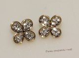 FSE014  Flower Design Fashion Stud Earring In Gold Tone Ally Metal