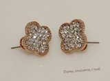 FSE016 Flower Design Fashion Stud Earring In Gold Tone Ally Metal
