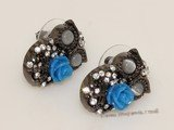 FSE022  Vintage Alloy Earring   Black Owl with Zircon Stud Earring